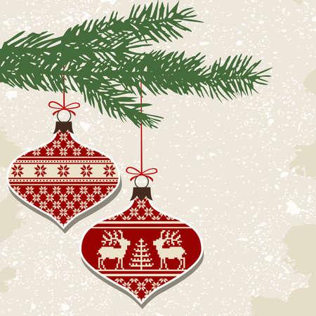 punto cruz: Retro bolas de Navidad con adornos