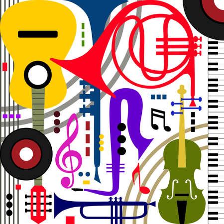 Resumen Los instrumentos musicales Ilustración de vector