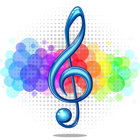 Blue glossy violin music key on a rainbow background