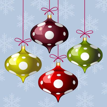 Christmas background with three colorful polka dot balls and snowflakes Ilustracja
