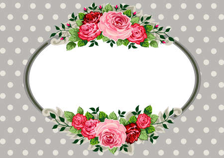 ovals: Retro oval roses vintage