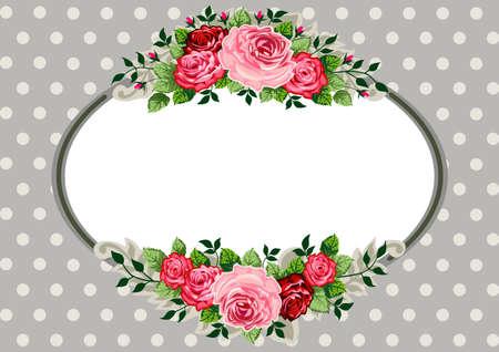 óvalo: Retro Vintage rosas ovalada