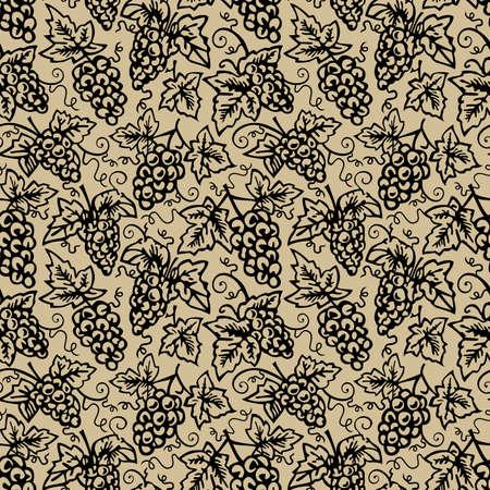 endlos: Nahtlose Muster Traube, sich wiederholenden Design-, Fliesen-endlos, Silhouette Haufen von schwarzen Trauben auf braunem Hintergrund