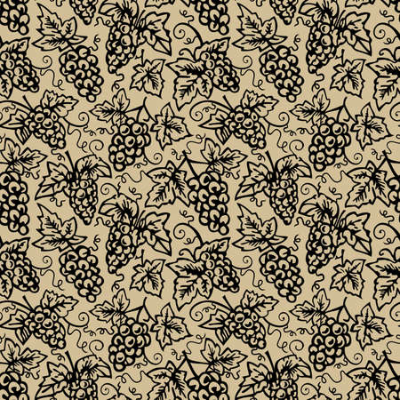 Seamless grape pattern, repeating design, tile endlessly, bunch of black grapes silhouette on brown background