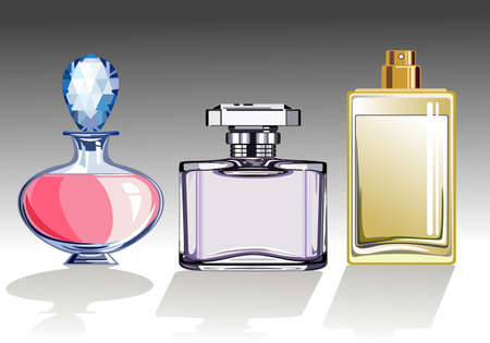 fragrances: Three glass perfume or eau de toilette bottles Illustration