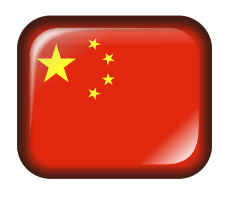 China Flag Button with 3d effect, isolated in white