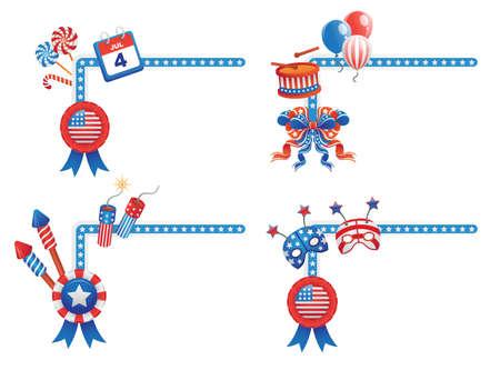 public celebratory event: 4TH July themed corner shaped design elements.  Illustration