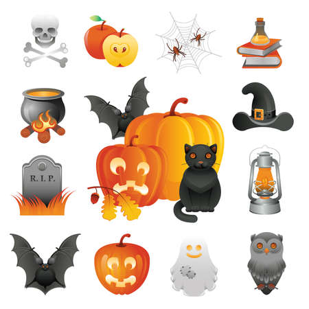 Halloween illustration and icons set.