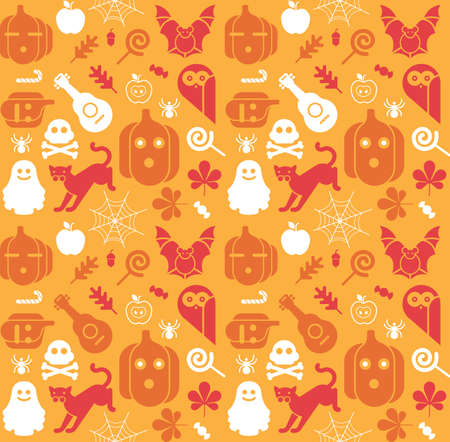 chestnut tree: Seamless background with Halloween silhouettes Illustration