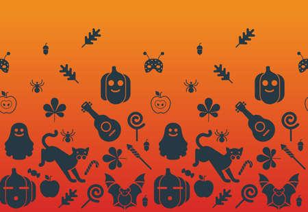 horizontal: Seamless horizontal Halloween background.