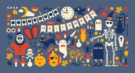 carnival: Composición panorámica con siluetas de Halloween