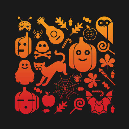 chestnut tree: Composition with Halloween silhouettes in a shape of square.