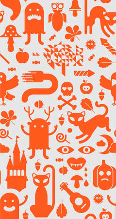 social event: Seamless background with halloween silhouettes. Illustration