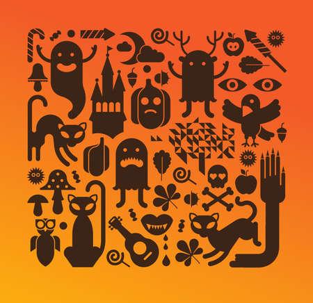 Halloween composition with spooky silhouettes Ilustração