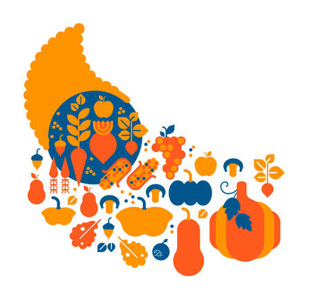 Composition with Cornucopia and vegetable silhouettes.