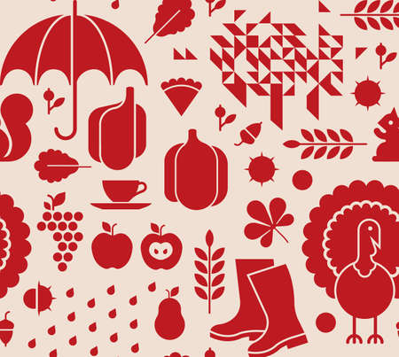 Seamless background with thanksgiving silhouettes
