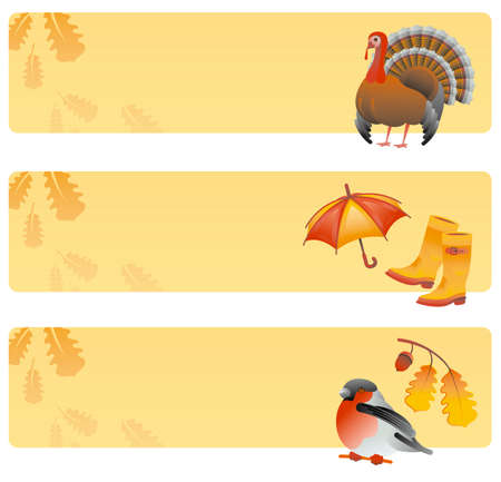 cartoon banner: Collection of banners with thanksgiving symbols Illustration