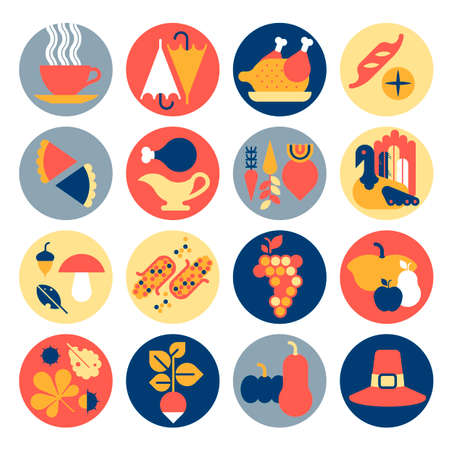 Icon set with Thanksgiving dinner symbols.