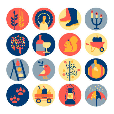 Icon set with thanksgiving and autumn symbols.