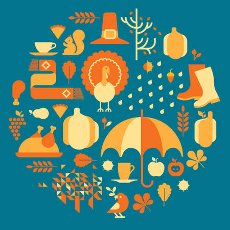 turkey: Autumn composition with thanksgiving silhouettes in a shape of circle. Illustration