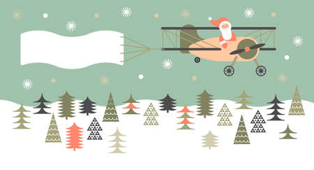 Composition with Christmas landscape and Santa in light aircraft.
