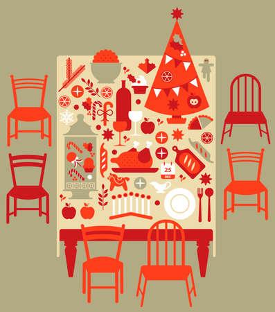 christmas table: Composition with Christmas dinner table, festive food and Christmas tree.