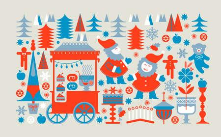 Panoramaweihnachtsmarkt Komposition mit Zwergen, festlichen Essen und Wald im Hintergrund. Vektorgrafik
