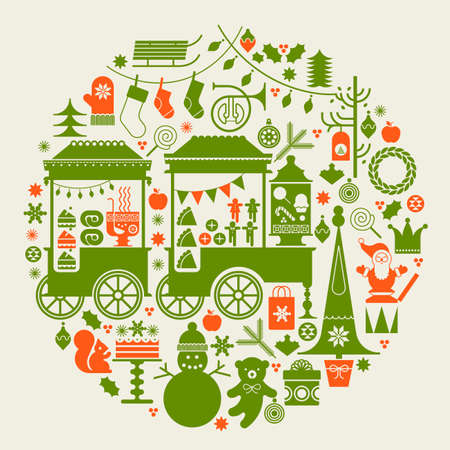 Round composition with Christmas market, street food trolleys, Christmas trees and holiday season symbols.