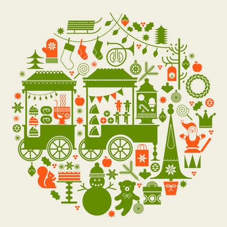 Composición redonda con mercado de Navidad, carros de comida en la calle, los árboles de Navidad y los símbolos de la temporada de vacaciones.