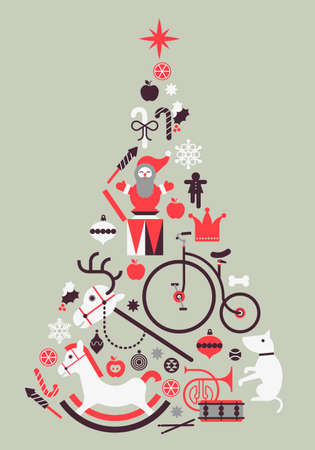 toy shop: Composition with silhouette of Christmas tree made of seasonal gifts, toys and crystal balls.