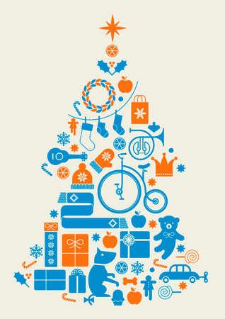 corona navidad: Composición con la silueta del árbol de Navidad de regalos de temporada, juguetes, instrumentos musicales y bolas de cristal.