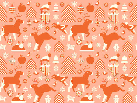 Seamless Christmas background with festive symbols.