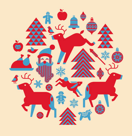 christmas tree decoration: Christmas composition in a shape of circle with winter holiday symbols and silhouettes.