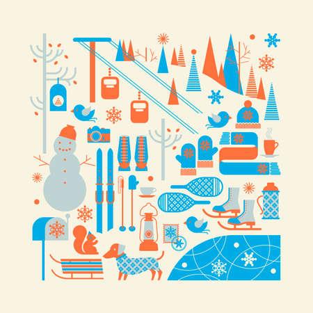 Compositie met skiën symbolen in een vorm van een vierkant