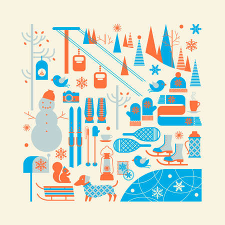 ski resort: Composition with skiing symbols in a shape of square
