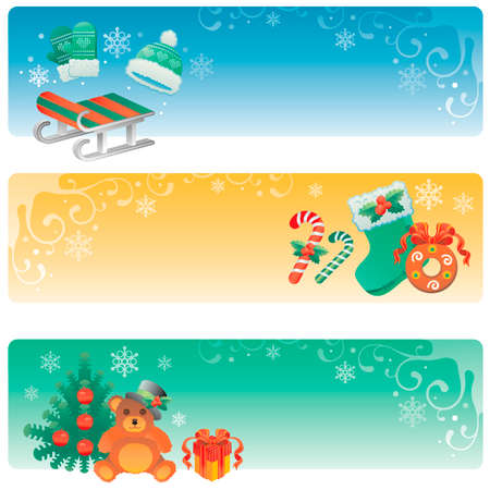 Set of three Christmas banners with winter holidays symbols.