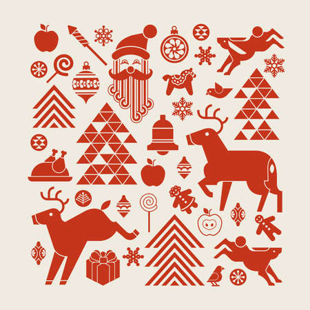 symbol decorative: Christmas composition in a shape of square with winter holiday symbols and silhouettes. Illustration