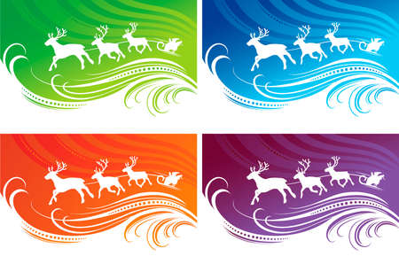 Christmas backgrounds set in four different colors.