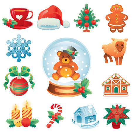 gingerbread cake: Christmas icon set containing 12 icons with winter holidays symbols.