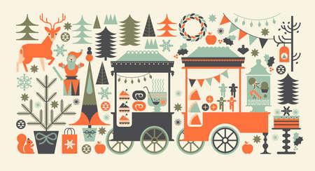 feriado: Composición del paisaje con el mercado de Navidad, carritos de comida de la calle, de los alimentos y símbolos de vacaciones festivas.