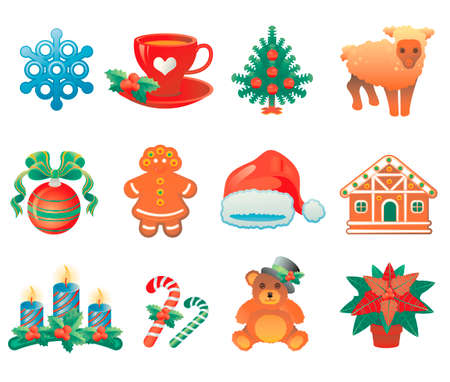 oso de peluche: Conjunto de iconos de Navidad que contiene 12 iconos con símbolos de vacaciones de invierno. Vectores
