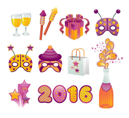 shopping champagne: Vector set of illustration with new year celebration symbols