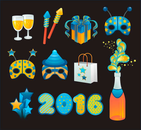 Vector set of illustration with new year celebration symbols