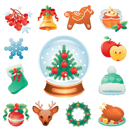 clip art: Christmas icon set containing 12 icons with winter holidays symbols.