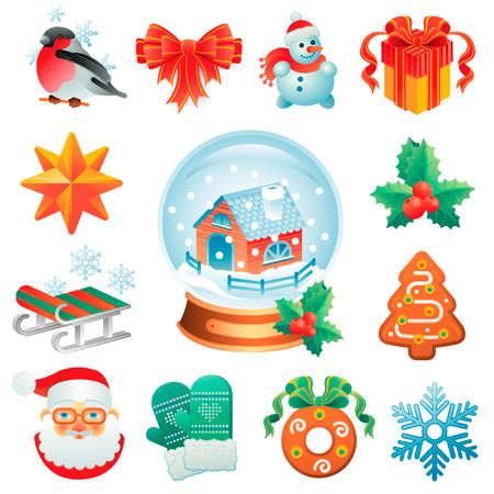 winter holidays: Christmas icon set containing 12 icons with winter holidays symbols.