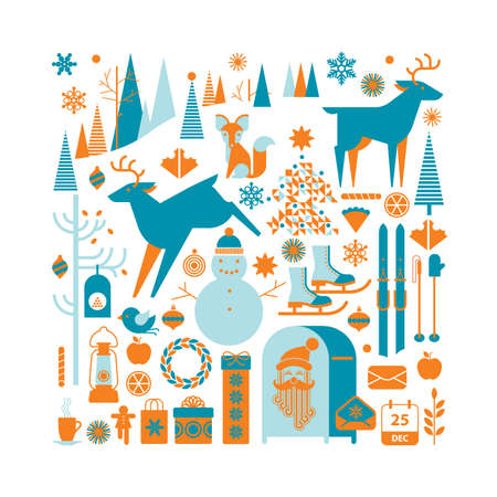 christmas postcard: Square composition with Christmas silhouettes and winter activity symbols.
