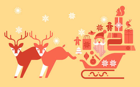 Deers and sleigh full of gifts in warm tones.