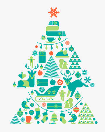 christmas tree: Christmas composition in shape of Christmas tree.