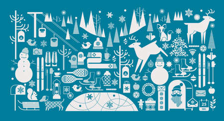 winter holiday: Christmas landscape with silhouettes of forest animal, snowman and winter sports symbols.