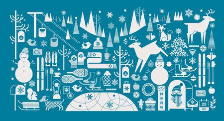 animales del bosque: Paisaje de Navidad con siluetas de animales del bosque, muñeco de nieve y del invierno símbolos deportivos. Vectores